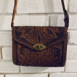 Handcrafted Tooled Leather vintage Purse